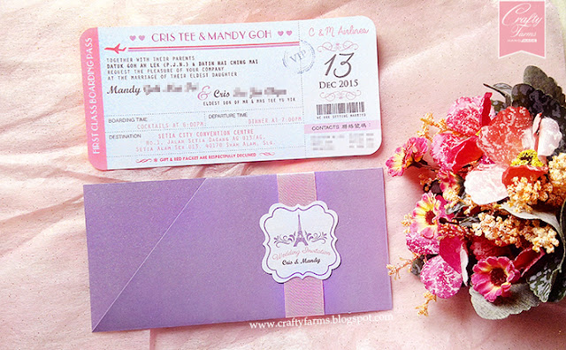 Purple and Pink Paris Themed Wedding Invitation Card, Klang, Selangor, Kuala Lumpur