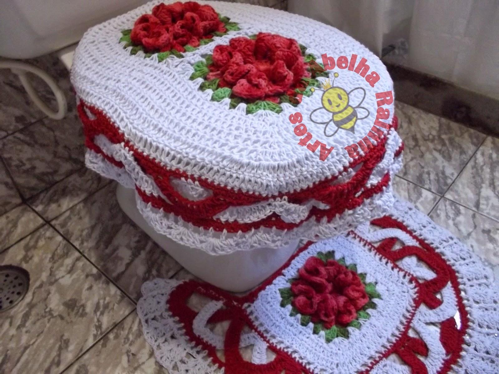 Rainha: Jogo de Banheiro de crochê Vermelho e Branco com Flores #6D242F 1600x1200 Acessorios Banheiro Vermelho
