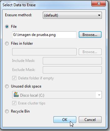 clic en el botón ok de la ventana select data to erase