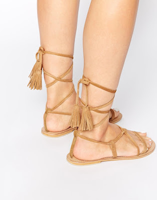 Asos gladiator tie-up flats with tassels