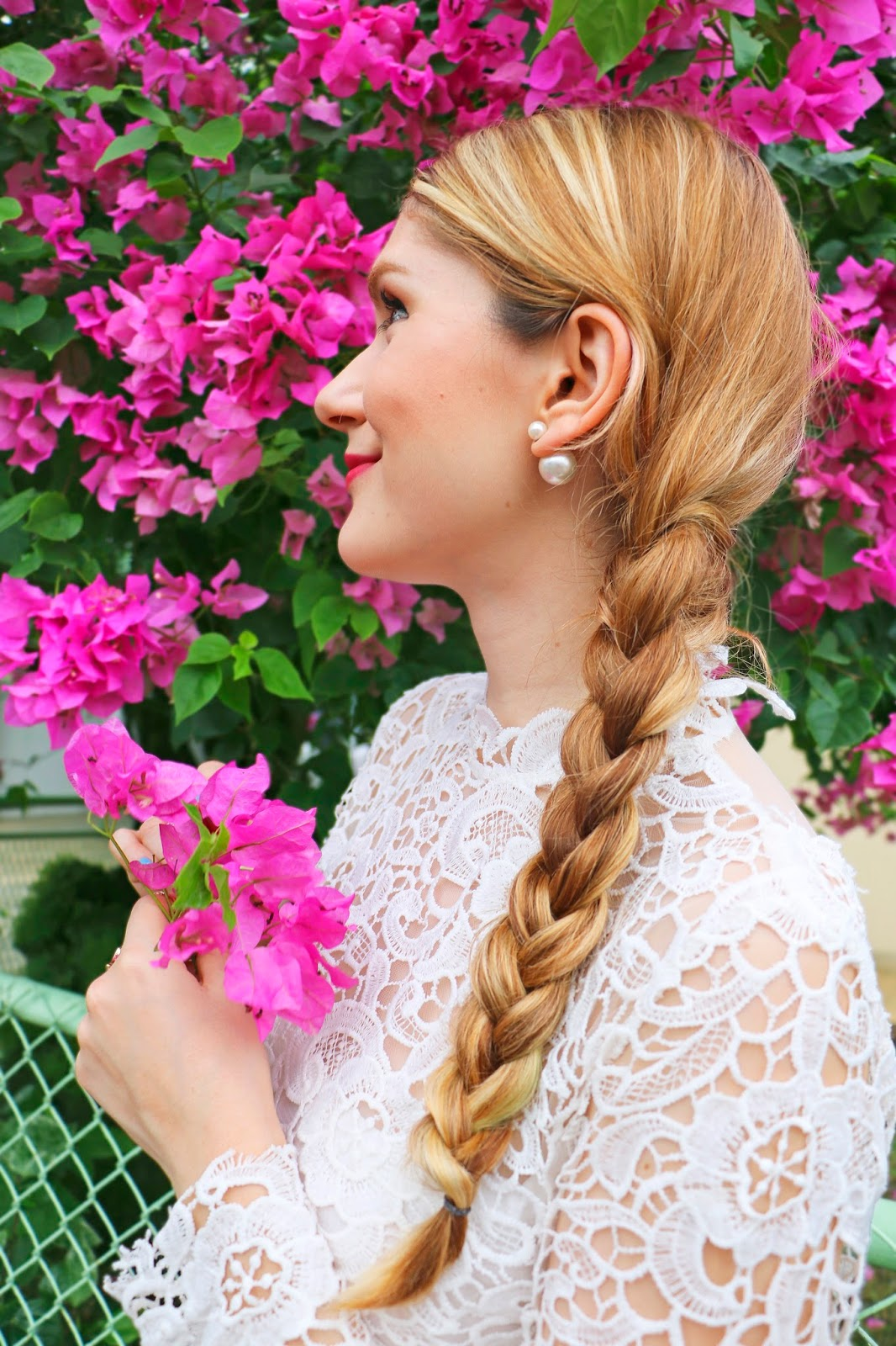 Girly sidebraid and pearl earrings