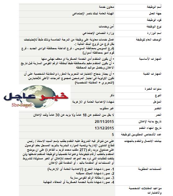 """اليوم """" وظائف وزارة التضامن الاجتماعى """" الاوراق المطلوبة والتقديم حتى 13 / 12 / 2015"""