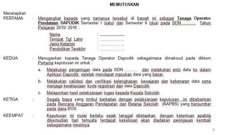 Contoh SK Operator Sekolah Tahun Pelajaran 2015/2016