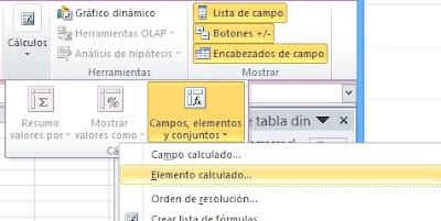 Elementos Calculados en Excel