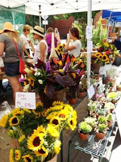 flowers, flower stand, sunflowers, gladiola