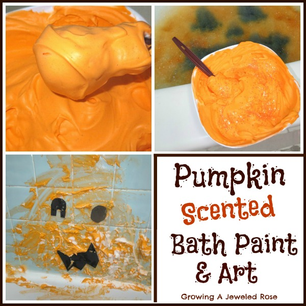 Pumpkin scented bath paint and bath time
