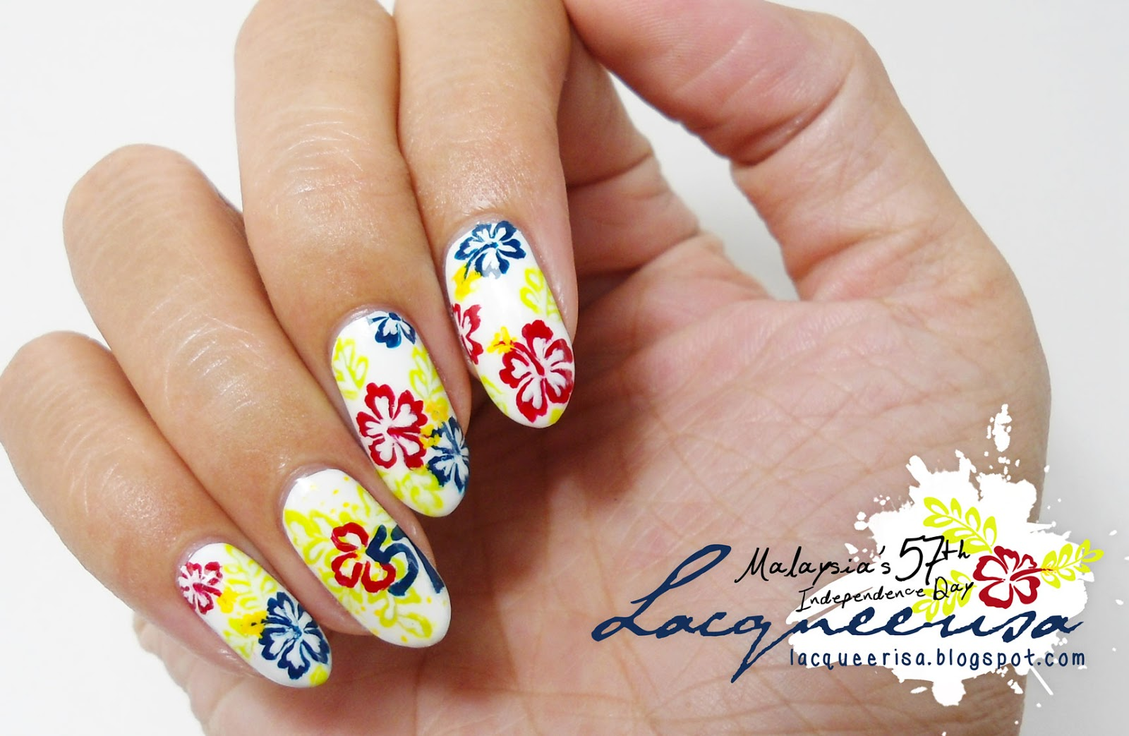 Malaysia's 57th Independence Day Nails lacqueerisa.blogspot.com