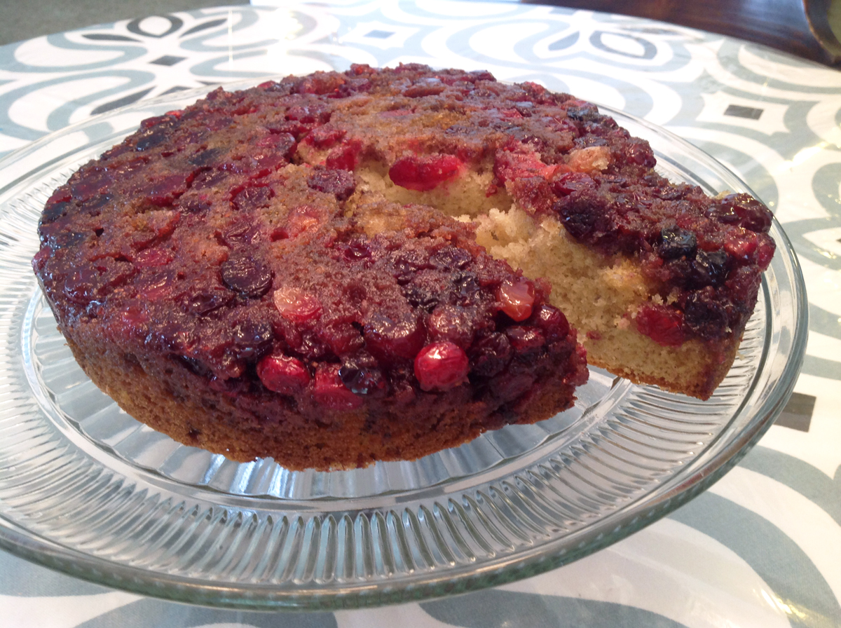Cranberry Streusel Upside Down Cake