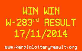 WIN WIN Lottery W-283 Result 17-11-2014