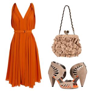 fotos e imagens de modelos de vestidos laranja