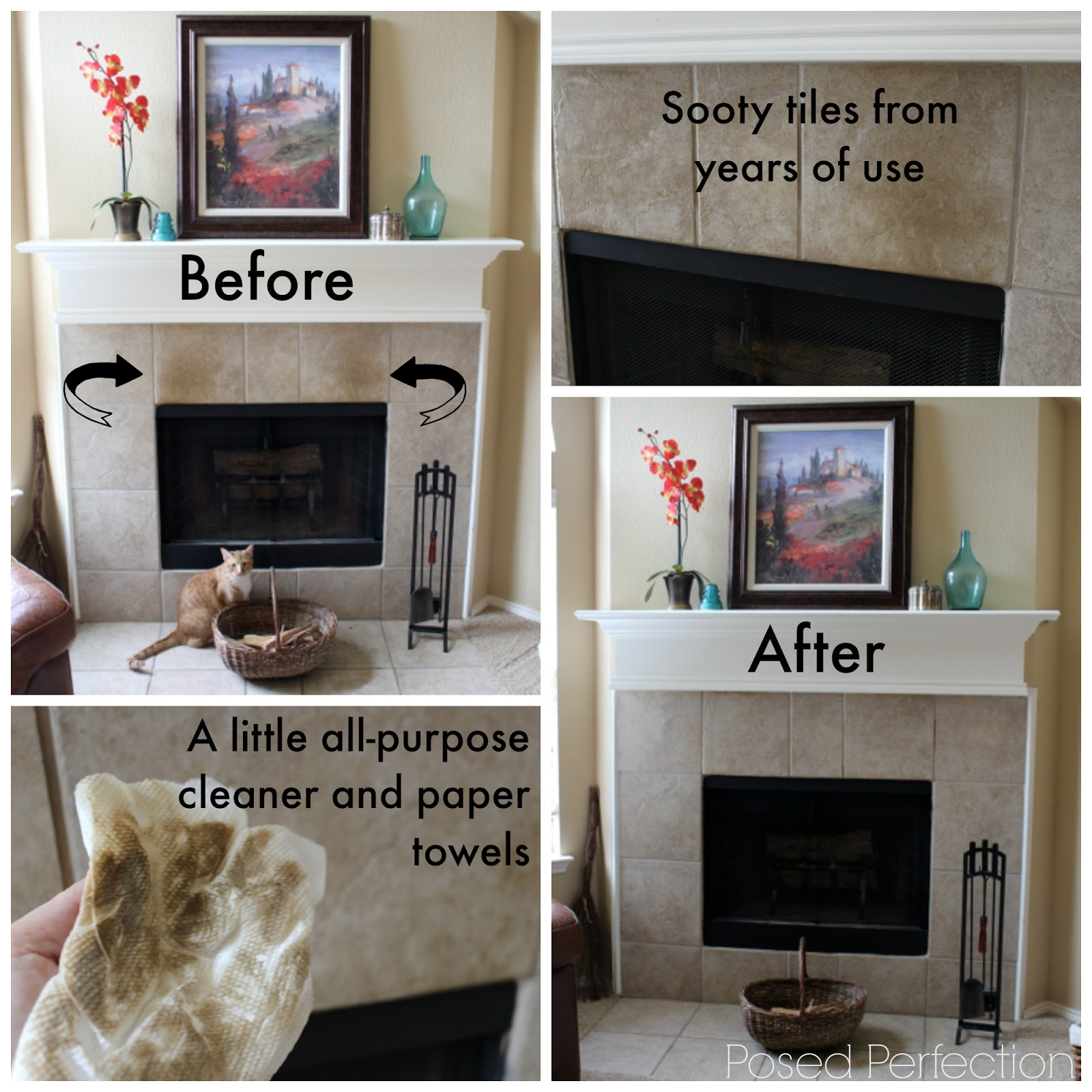 Minimalist Mantel for Summer and Cleaning Soot from Tiles