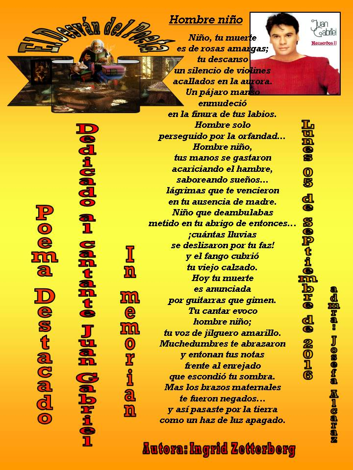 Poema Hombre niño, dedicado a Juan Gabriel, destacado en El desván del poeta