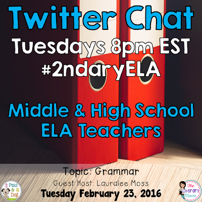 Join secondary English Language Arts teachers Tuesday evenings at 8 pm EST on Twitter. This week's chat will focus on teaching grammar.