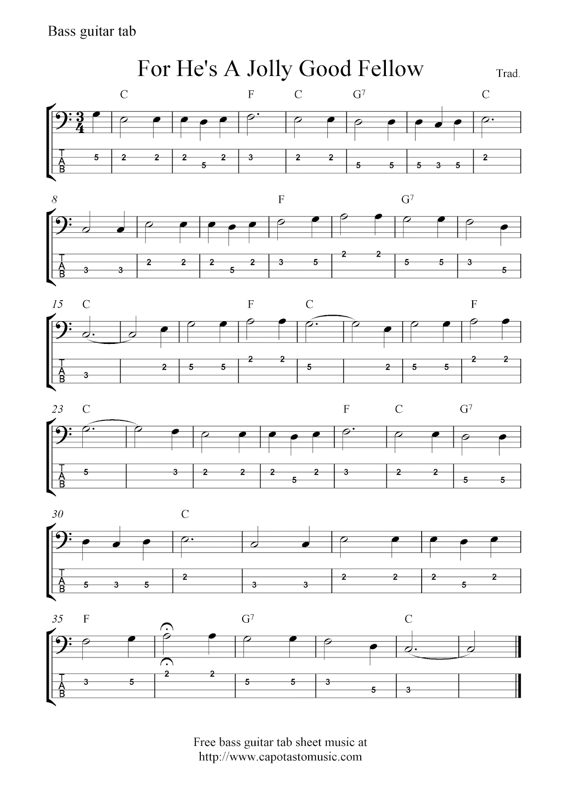 Free bass guitar tab sheet music, For He's A Jolly Good Fellow