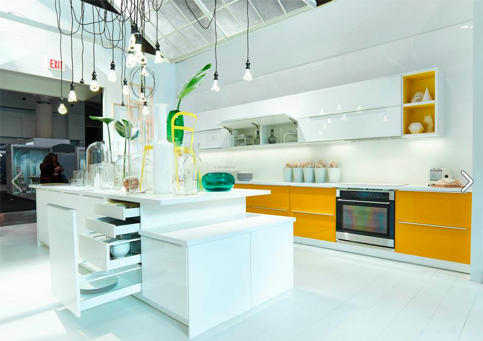 Ikeas Glossy White And Yellow Kitchen Feature