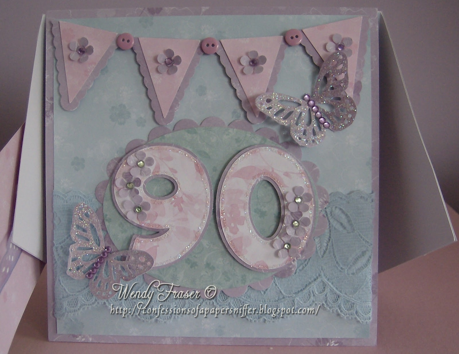 Greeting Cards Birthday Handmade Inspirational Happy 90th Design Card I Saw This Style Of Being Demonstrated On Create And Craft Was Keen To Have