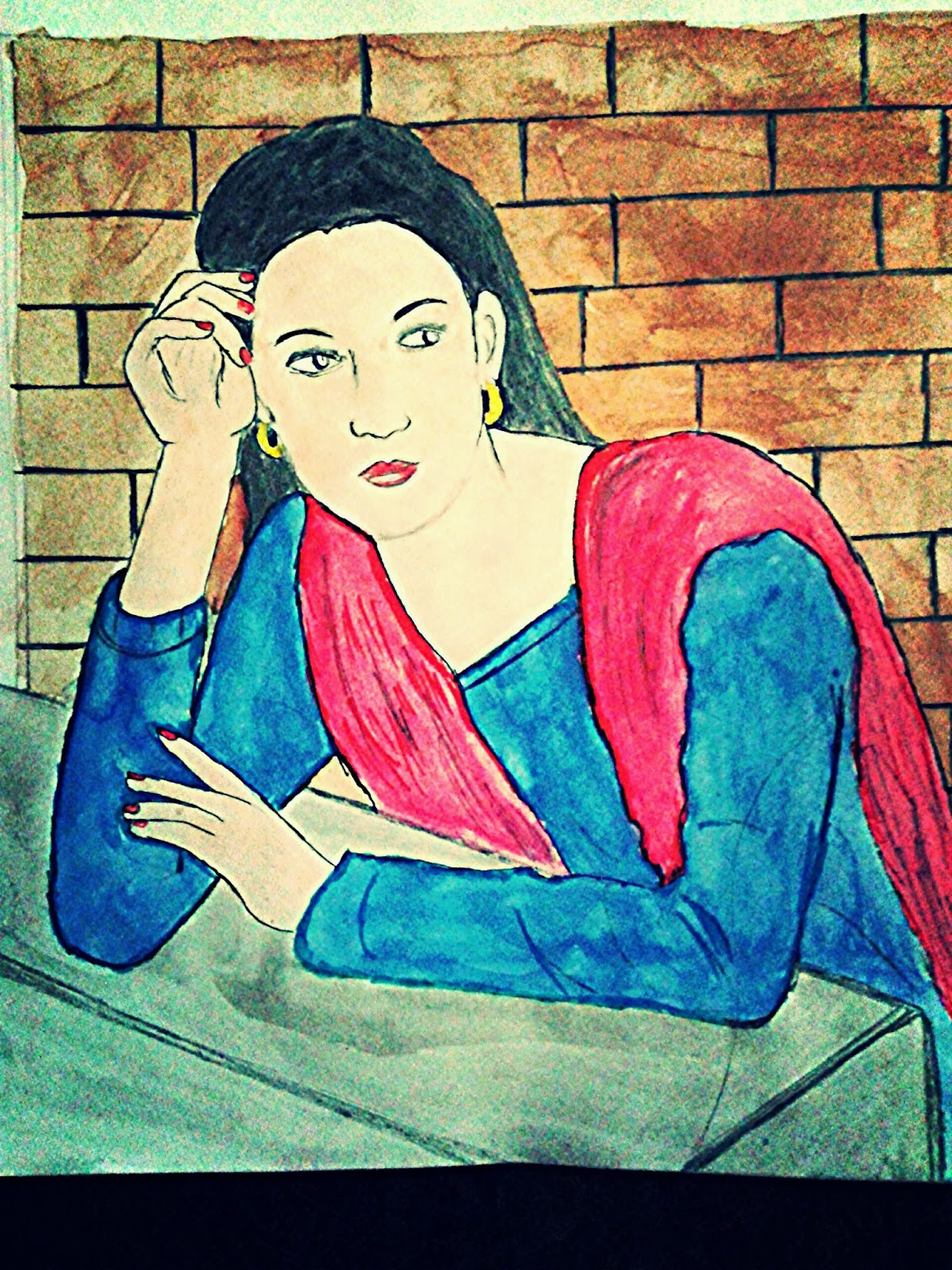 Indian girl in mood of waiting painting