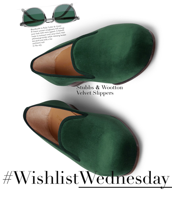 00o00+menswear+blogger+london+wishlistwednesday+cutler+gross+acetate+sunglasses+stubbs+wootton+velvet+slippers+green+Mr+Porter