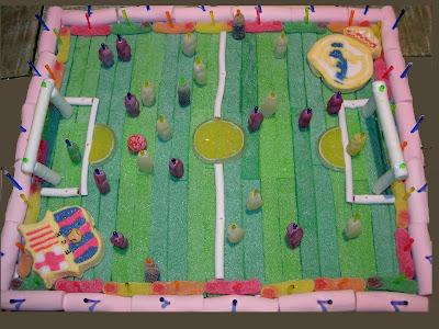 tarta de chuches de futbol