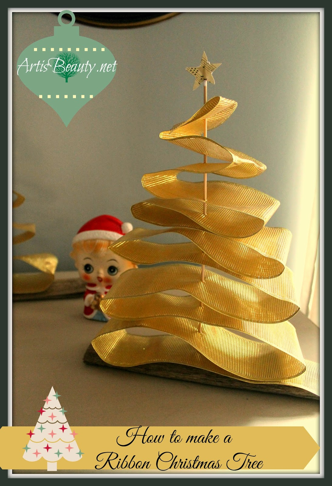 art is beauty how to make a ribbon christmas tree. Black Bedroom Furniture Sets. Home Design Ideas