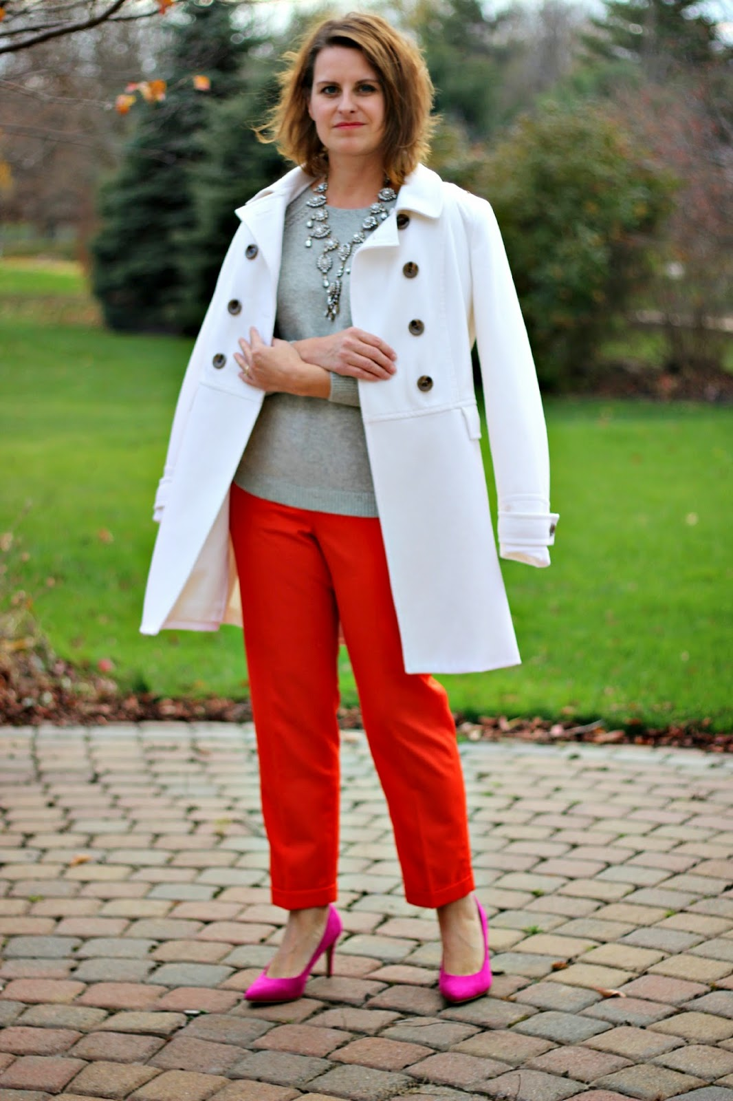 Winter outfit, white coat, j. crew pants, j. crew cashmere gray sweater, statement necklace