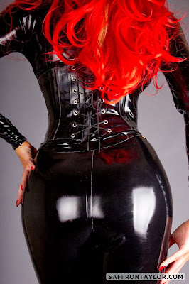 Saffron Taylor Perfect Ass in Tight Black Shiny Latex