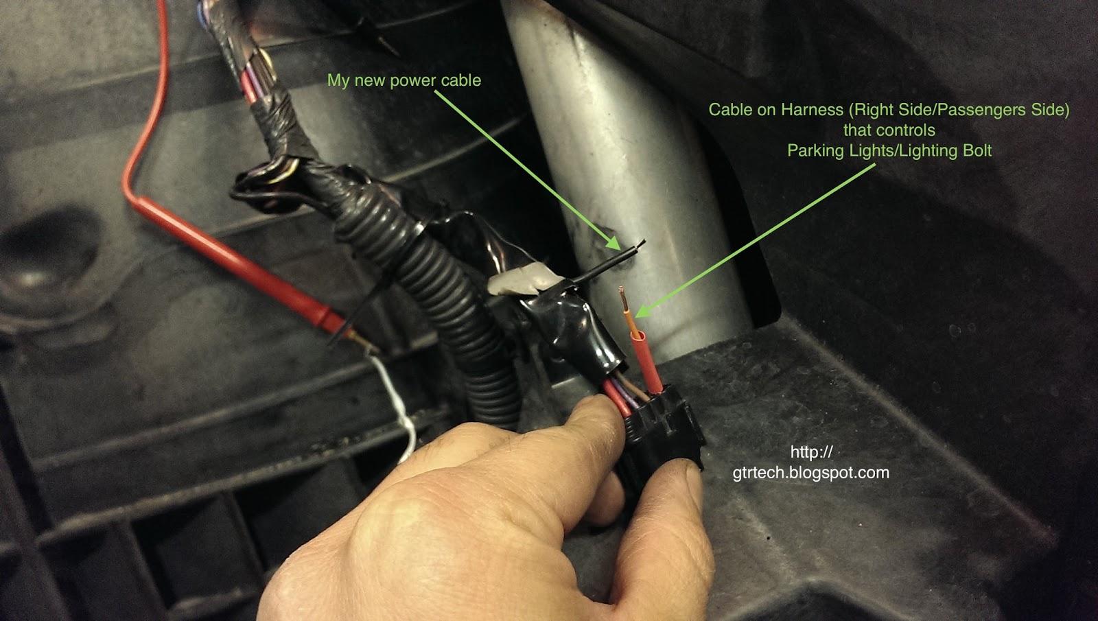 Nissan Gt R R35 Technical Diy Blog Headlights Conversion To 2015 Gtr Wiring Diagram Rh Parking Light Wire