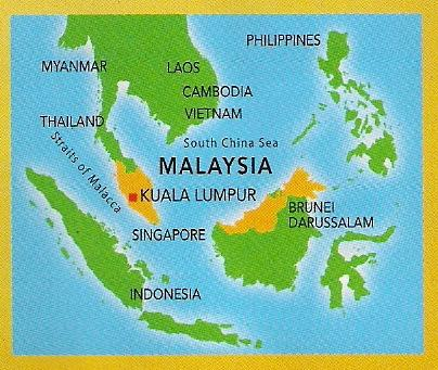 The map of Malaysia (in yellow) with the national capital of Kuala Lumpur