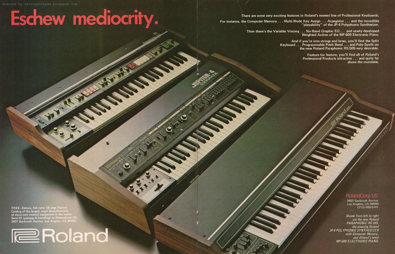 retro synth ads roland eschew mediocrity ad contemporary