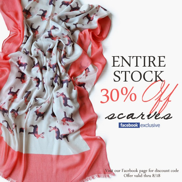 30% off scarves for Facebook fans only!