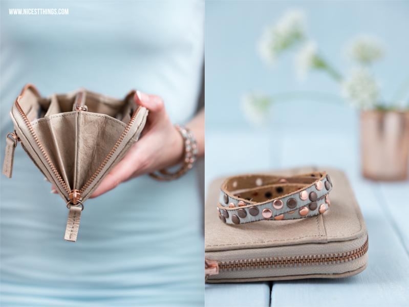 Geldbeutel und Armband aus Echtleder mit Roségold Kupfer von Cowboysbag Cowboysbelt