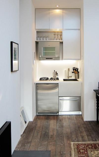 IDEAS PARA COCINAS PEQUEÑAS by cocinayreposteros.blogspot.com Tiny kitchen for small spaces