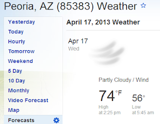 74 degrees in peoria az