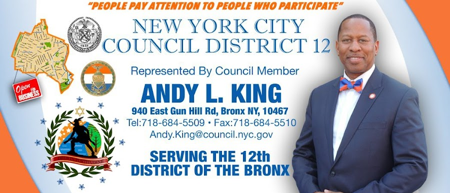 12th District of the Bronx Representative Councilman Elect Andy King