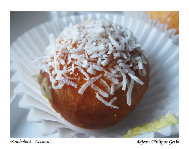 Image of a Coconut Italian doughnut donut at Bombolini in UWS NYC, New York