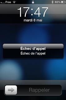 """L'écran de l'iPhone qui affiche """"échec de l'appel"""" chez Free Mobile"""