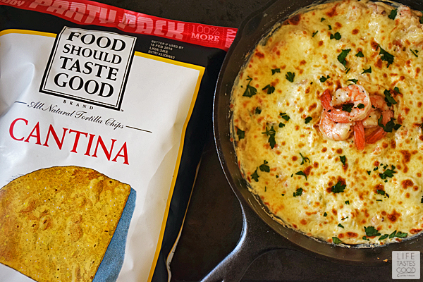 Skillet Shrimp Scampi Dip | by Life Tastes Good is an easy to make dip that puts a new spin on Shrimp Scampi. #LTGrecipes #FoodShouldTasteGood