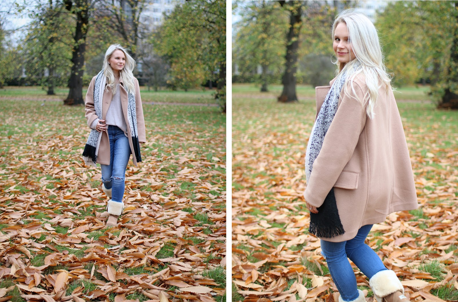 a blonde girl has fun in hyde park in the fall