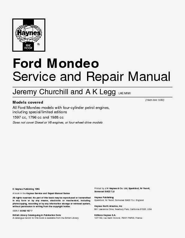 Wiring Diagrams And Free Manual Ebooks  Ford Mondeo Service And Repair Manual
