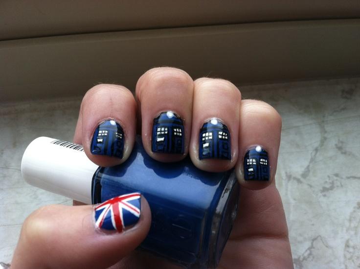 Doctor who invades your nails guiltless reading tardis and brit love in this nail art by sara prinsesfo Gallery