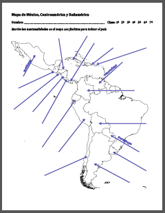 Spanish-Speaking Countries Map to Label by AnneK at Confesiones y Realidades Blog
