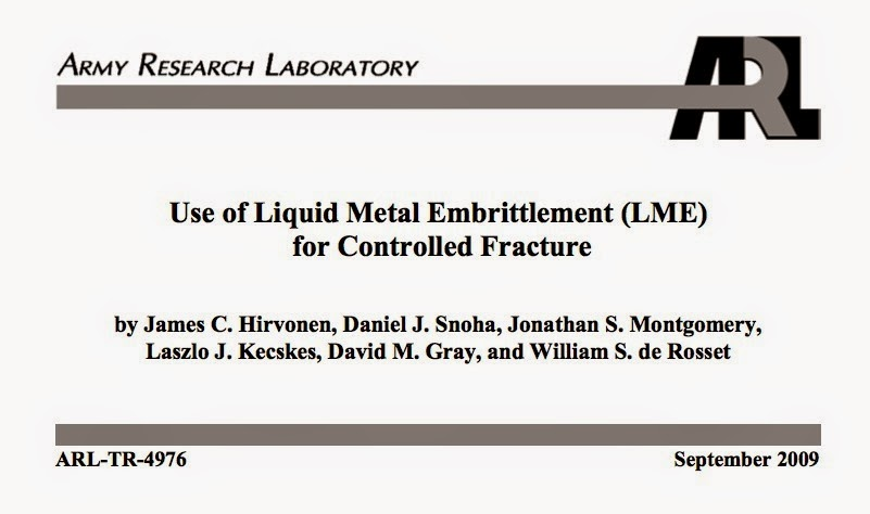 Liquid Metal Embrittlement LME for improving U.S. explosive ordnance