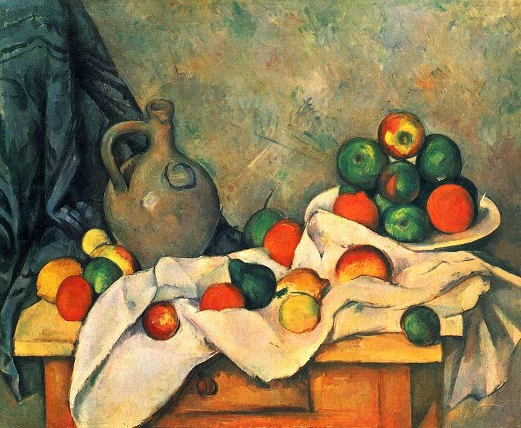 """Vaikelu kanga, kannu ja puuviljavaagnaga"""" Paul Cézanne (1893-1894)"""