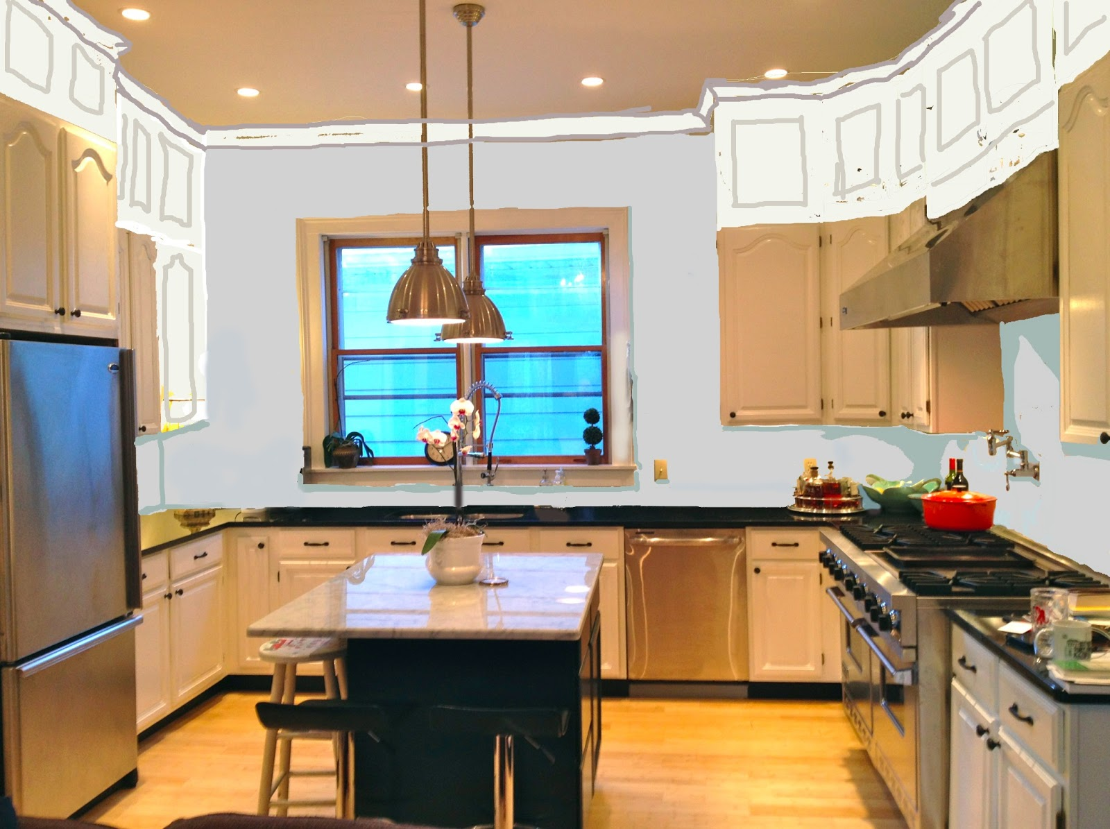 High Ceiling Kitchen Cabinets