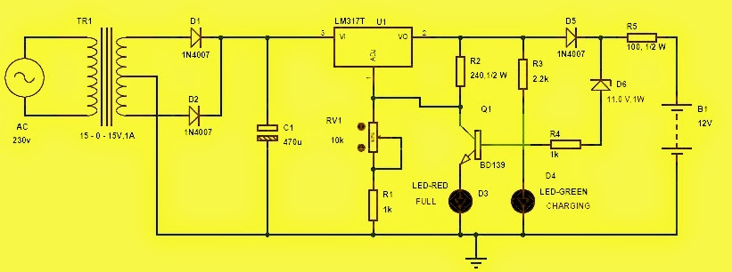 Portable Automatic Bcircuit Diagram Of Automatic Battery Charger on 1 watt led driver circuit