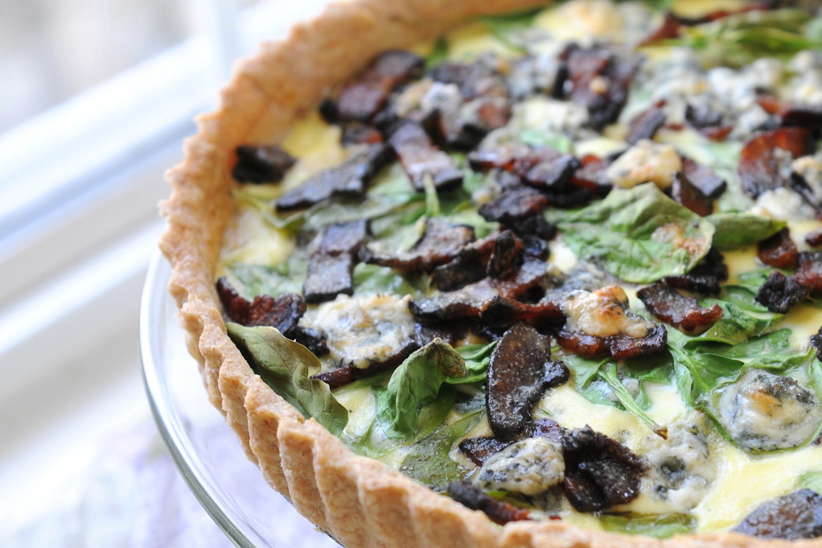 ... Gourmet: 134. Spinach, Blue Cheese and Bacon Quiche with a Spelt Crust