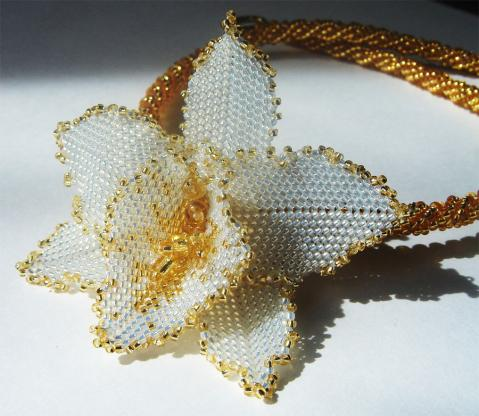Орхидея из бисера схема плетения лепестков