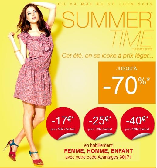 Promotion 3 Suisses SUMMER TIME 2012: Jusqu'à -70€  Du 24 mai au 26 juin 2012, promos sur l'habillement homme femme et enfant avec le code promo 3 Suisses: 30171 code promo 3 suisses juin 2012