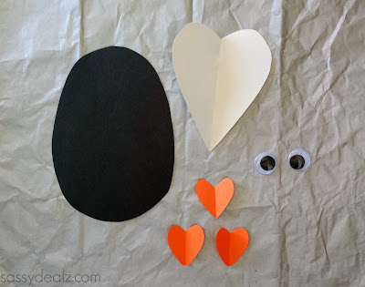 paper heart penguin valentine craft