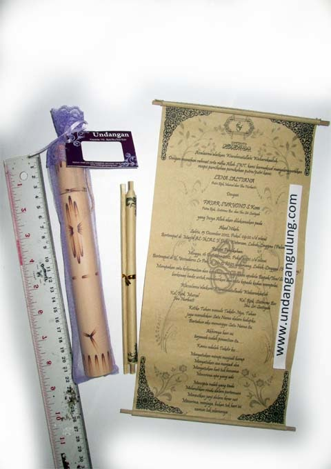 undangan bambu gulung 21cm tile